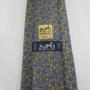 Mens Hermes Silk Tie Blue Horseshoe Pattern